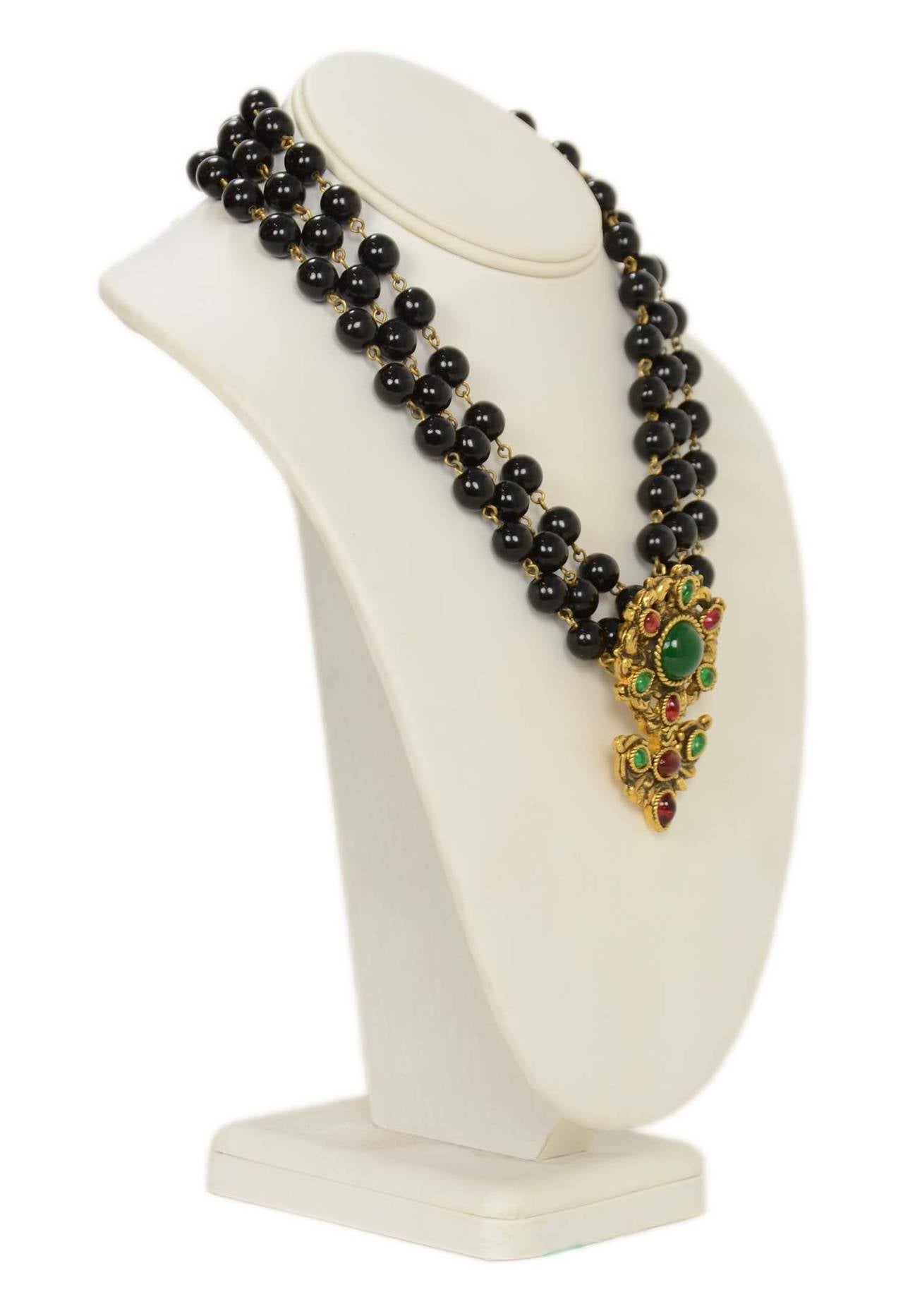 CHANEL Vintage 1985 Black Triple Strand Beaded Necklace w/ Flower Pendant 2