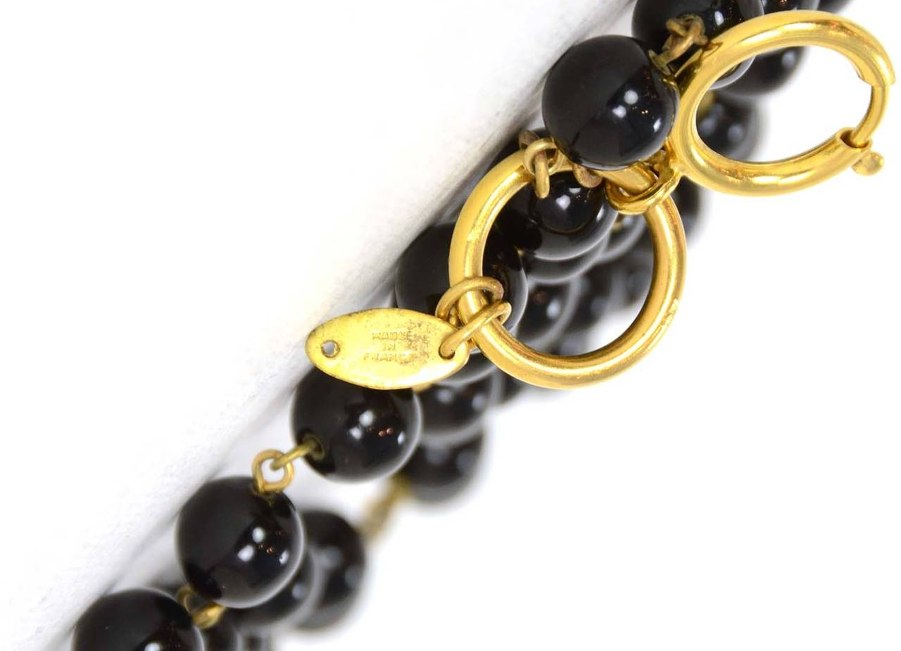 CHANEL Vintage 1985 Black Triple Strand Beaded Necklace w/ Flower Pendant 6
