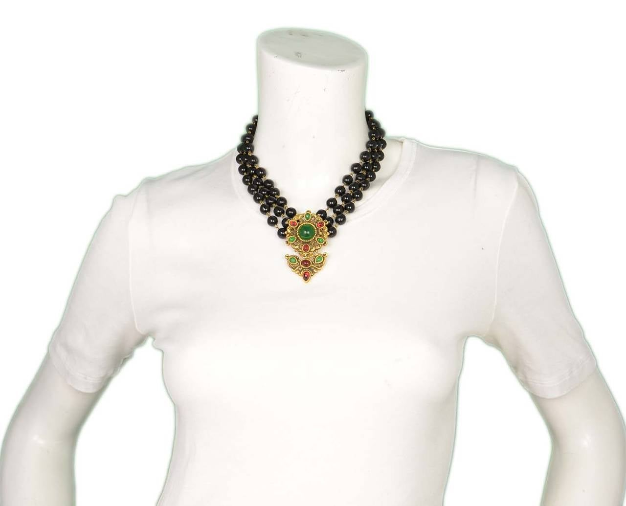 CHANEL Vintage 1985 Black Triple Strand Beaded Necklace w/ Flower Pendant 7