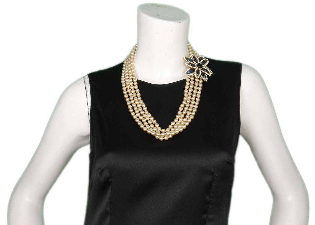 CHANEL Vintage 1983 Four Strand Pearl Necklace w/Flower Pendant 7