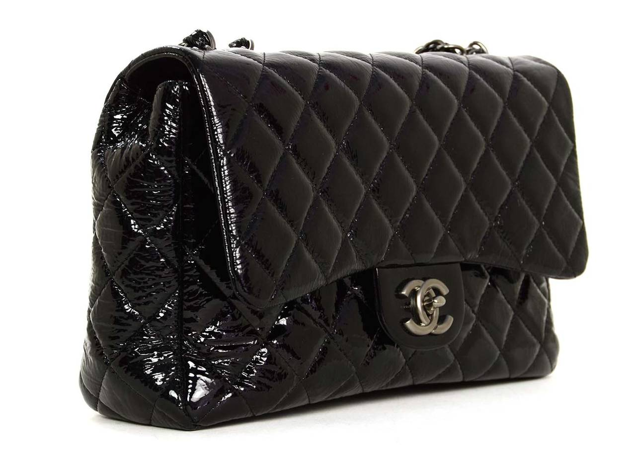 Chanel Quilted Black Patent Leather Large Jumbo Classic