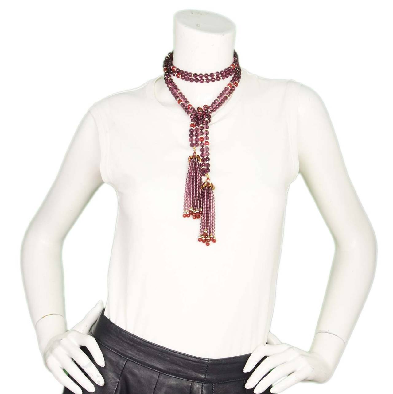 CHANEL Vintage '83 Double Strand Gripoix Bead Lariat Necklace w/ Tassels 7