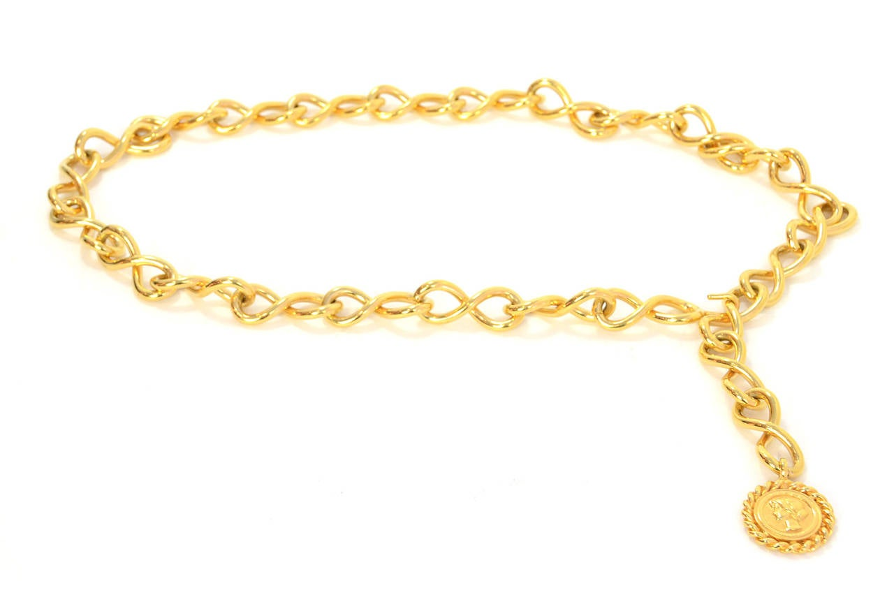 Women's Chanel Vintage Goldtone Coco Coin Swirl Chain Link Belt/Necklace For Sale
