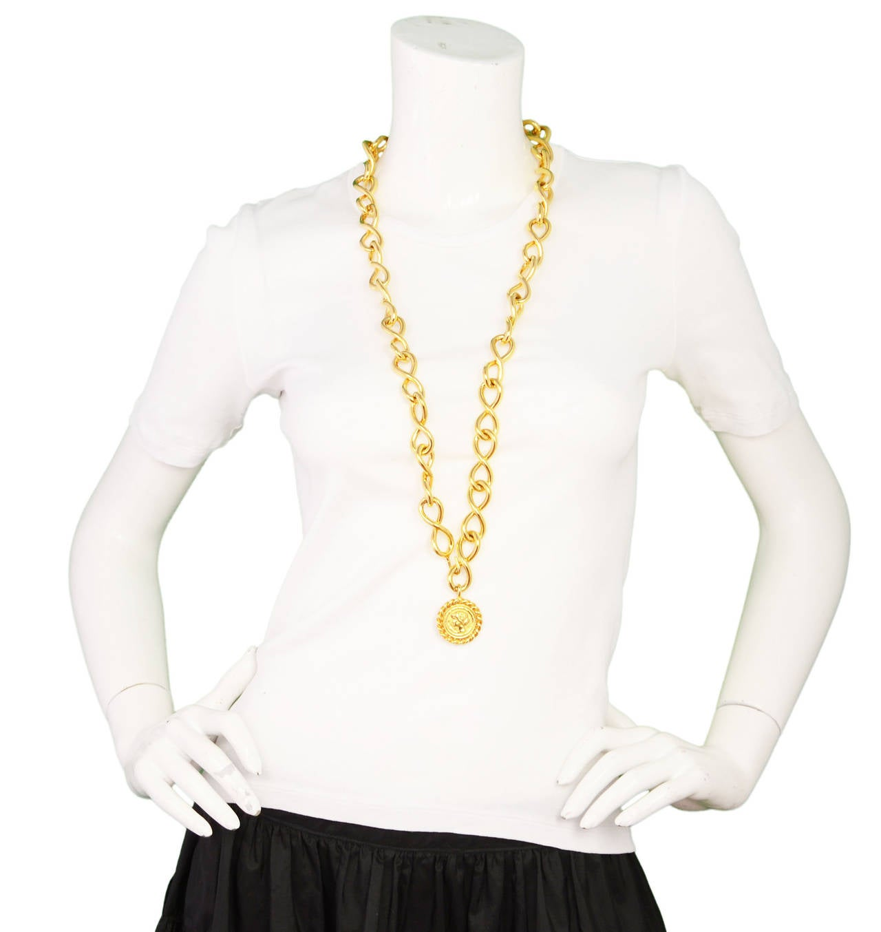 Chanel Vintage Goldtone Coco Coin Swirl Chain Link Belt/Necklace For Sale 1