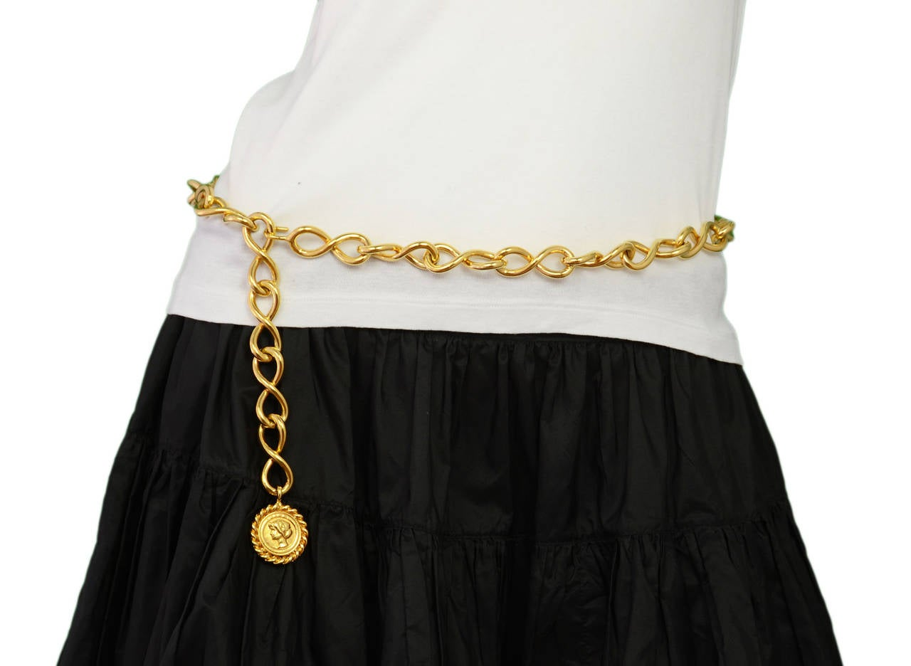 Chanel Vintage Goldtone Coco Coin Swirl Chain Link Belt/Necklace For Sale 2