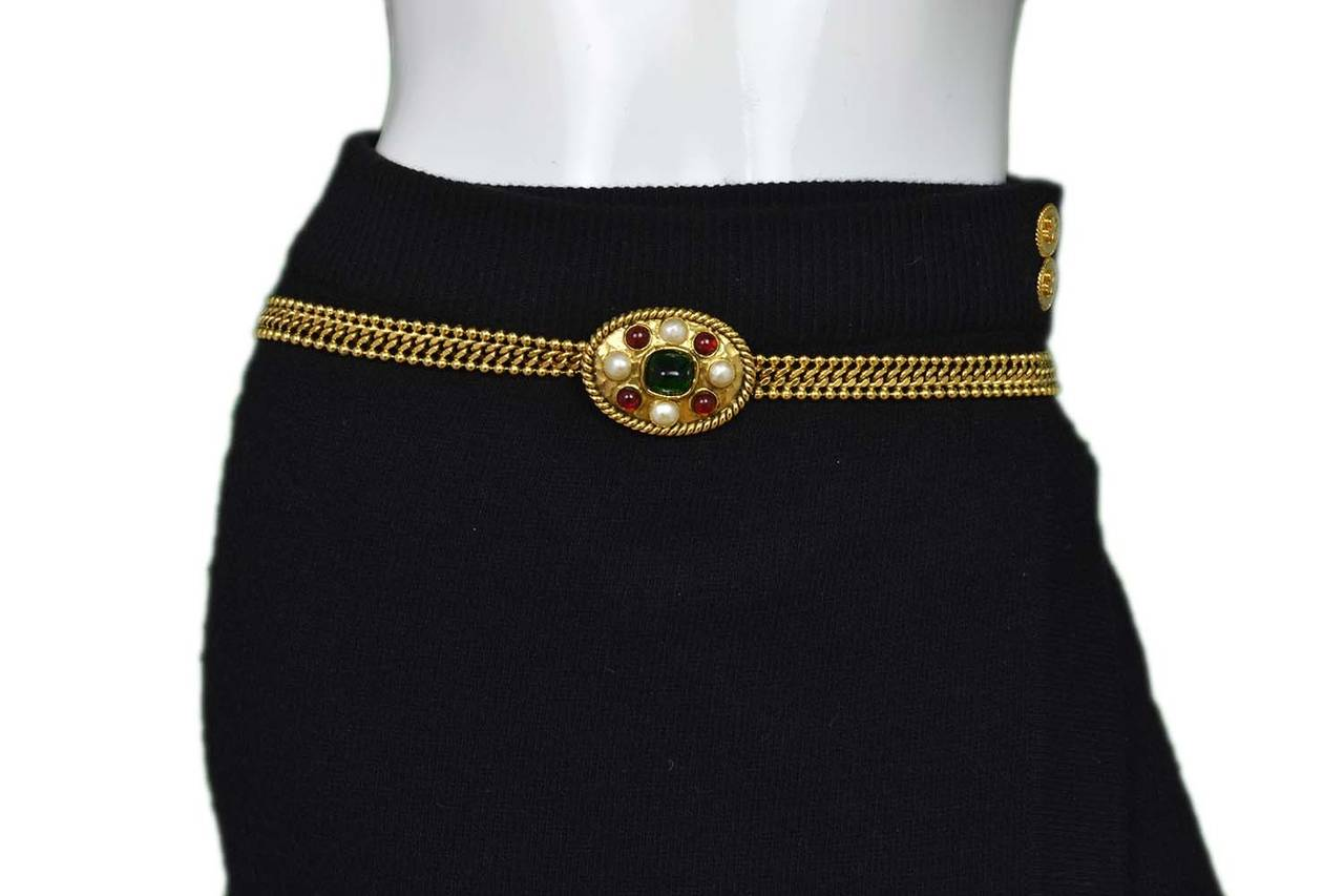 CHANEL Vintage 1950's-1960's Gold Chain Belt w/Oval Pearl & Gripoix Buckle 6