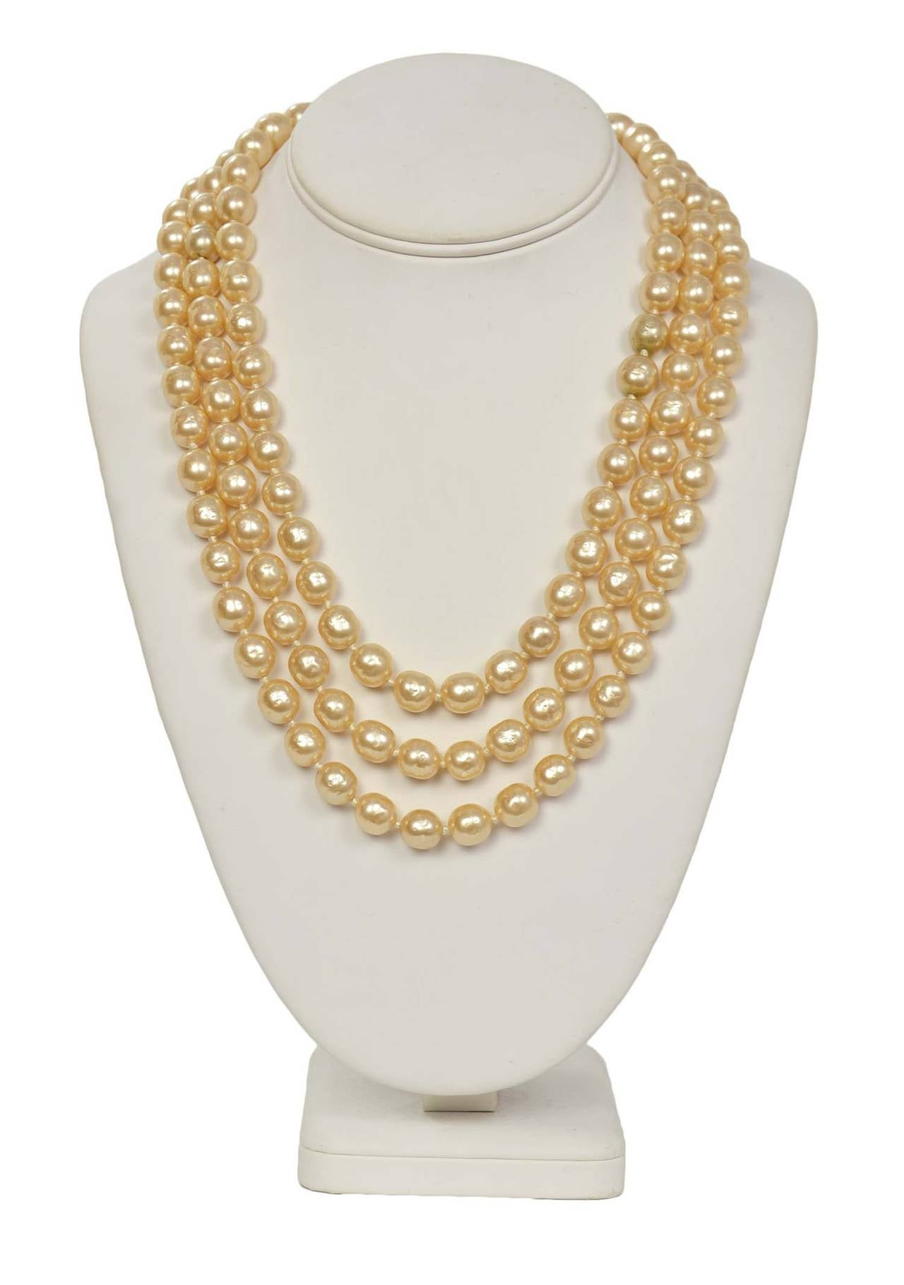 CHANEL Vintage 1950's-1960's Three Strand Pearl Necklace w/Antique Clasp 2