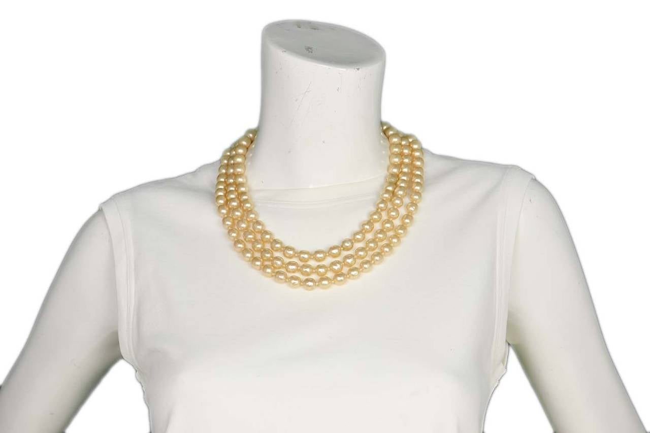 CHANEL Vintage 1950's-1960's Three Strand Pearl Necklace w/Antique Clasp 8