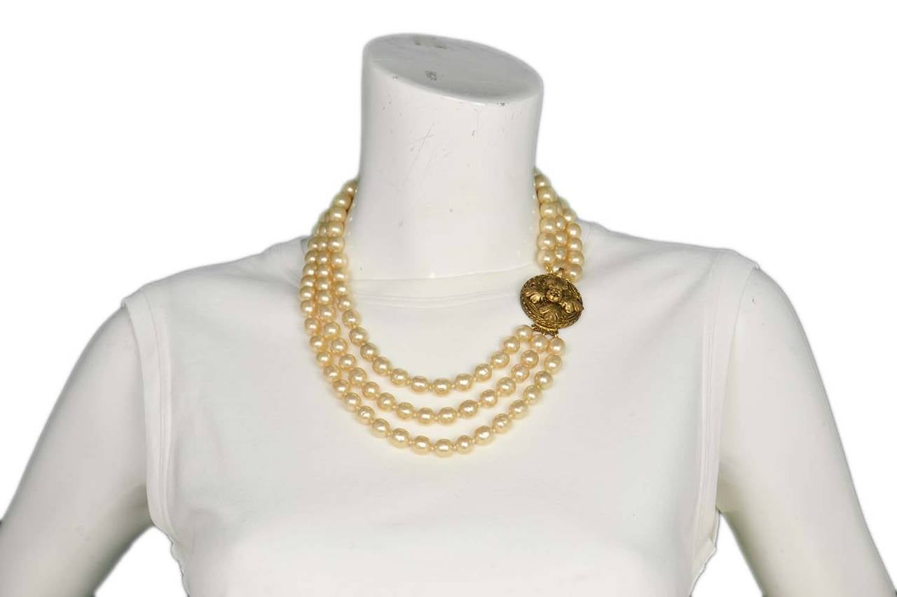 CHANEL Vintage 1950's-1960's Three Strand Pearl Necklace w/Antique Clasp 9
