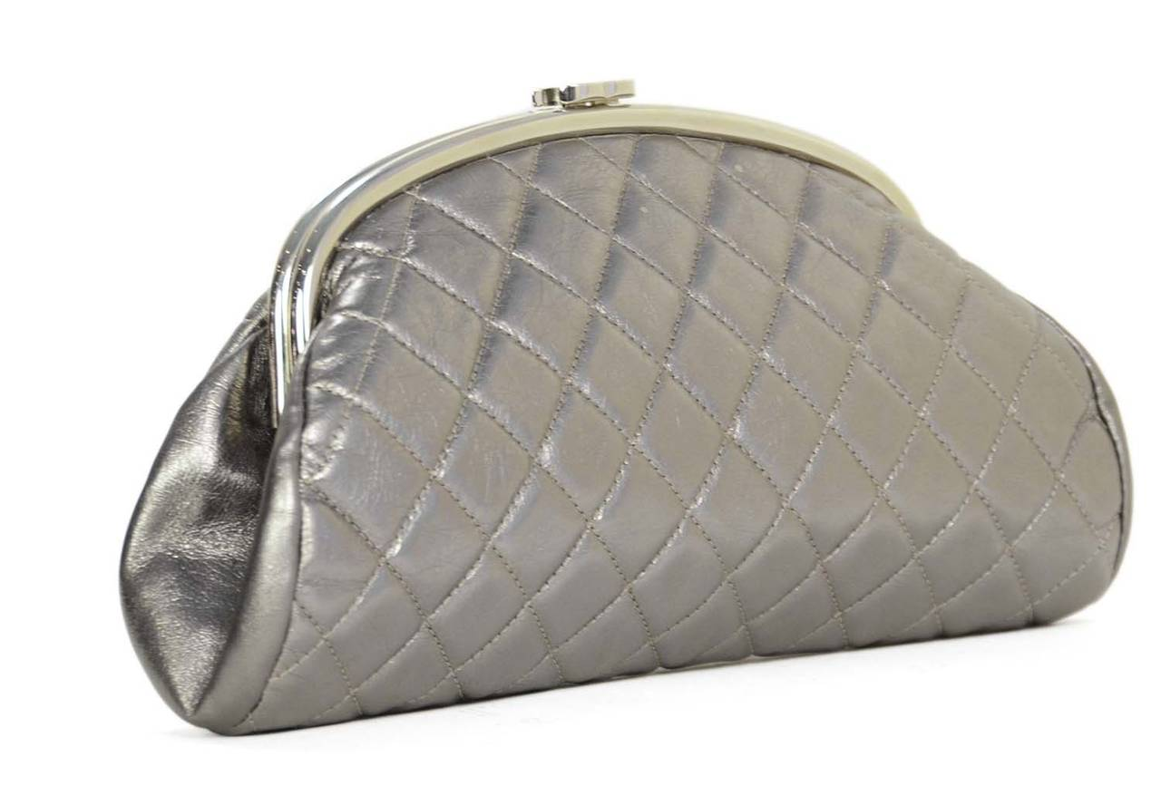 CHANEL Metallic Pewter Quilted Timeless Clutch Bag SHW at 1stdibs