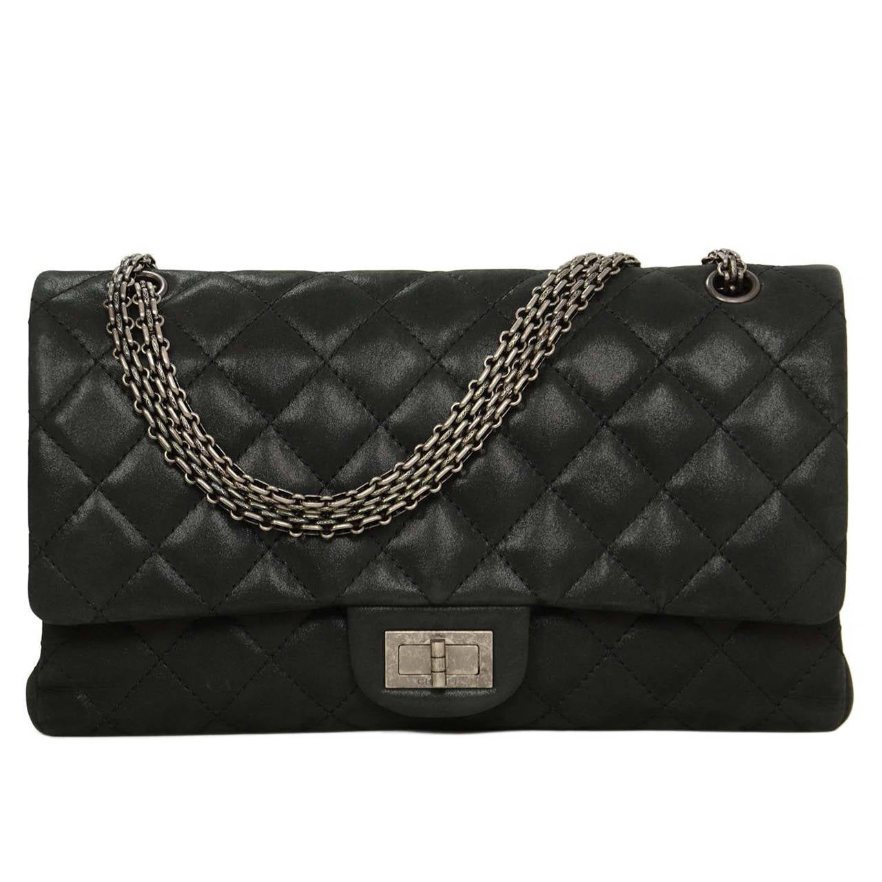 d92a8e8ba5f5 Chanel Black Iridescent Calfskin 2.55 Reissue Quilted 227 Classic Maxi Flap  Bag For Sale