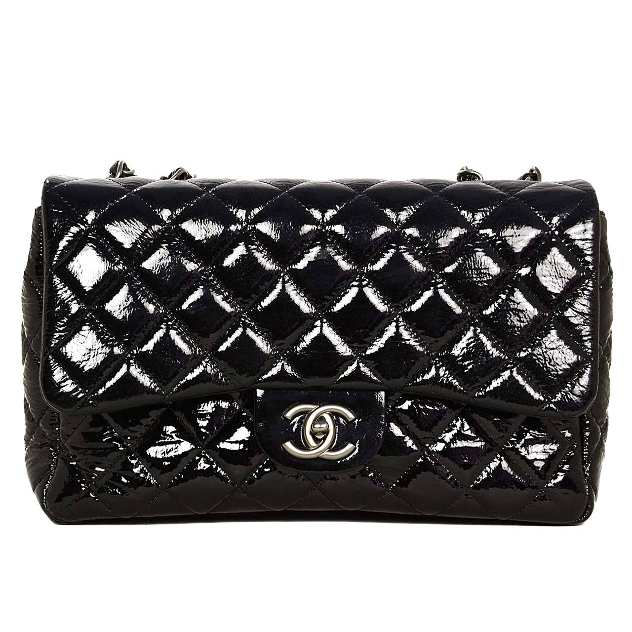 cf8f128e85bf Chanel Quilted Black Patent Leather Large Jumbo Classic Flap Bag For Sale