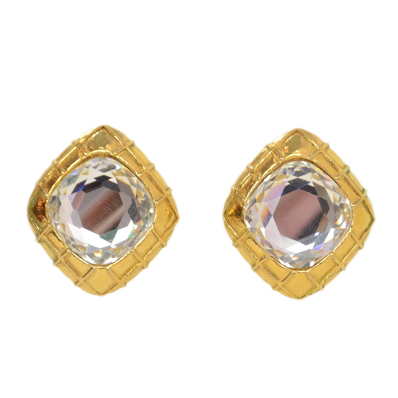 CHANEL Vintage \'70s-\'80s Gold and Crystal Clip On Earrings For ...