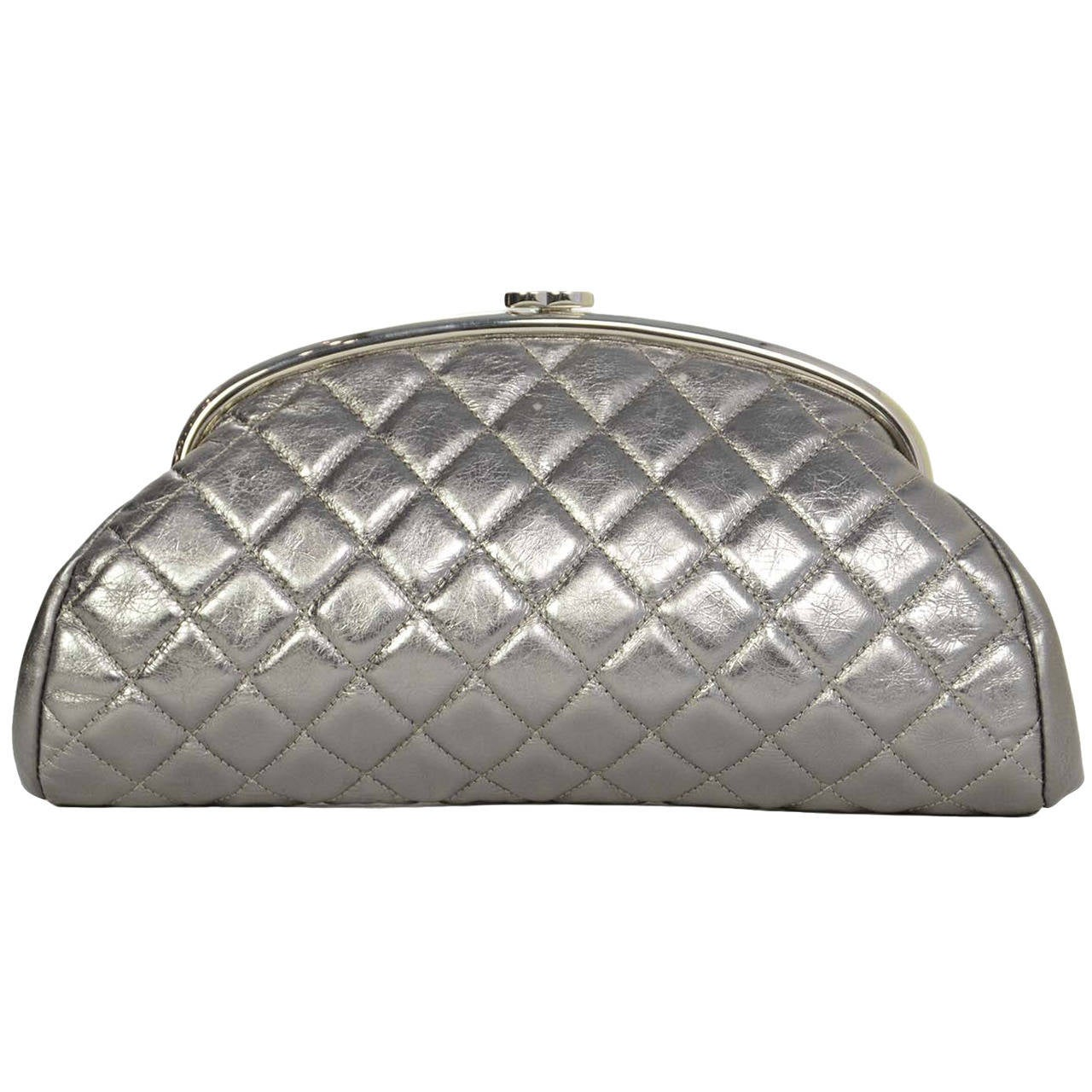 2c472e580be4 CHANEL Metallic Pewter Quilted Timeless Clutch Bag SHW at 1stdibs