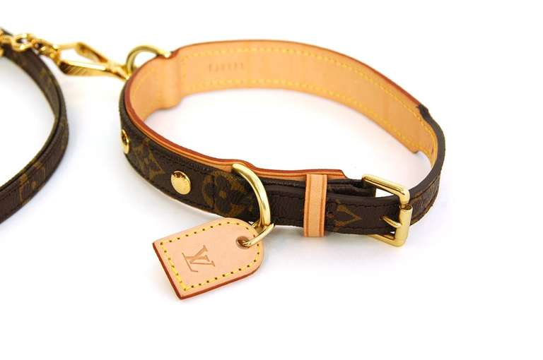 Louis Vuitton Baxter Dog Collar And Leash Rt 720 At 1stdibs