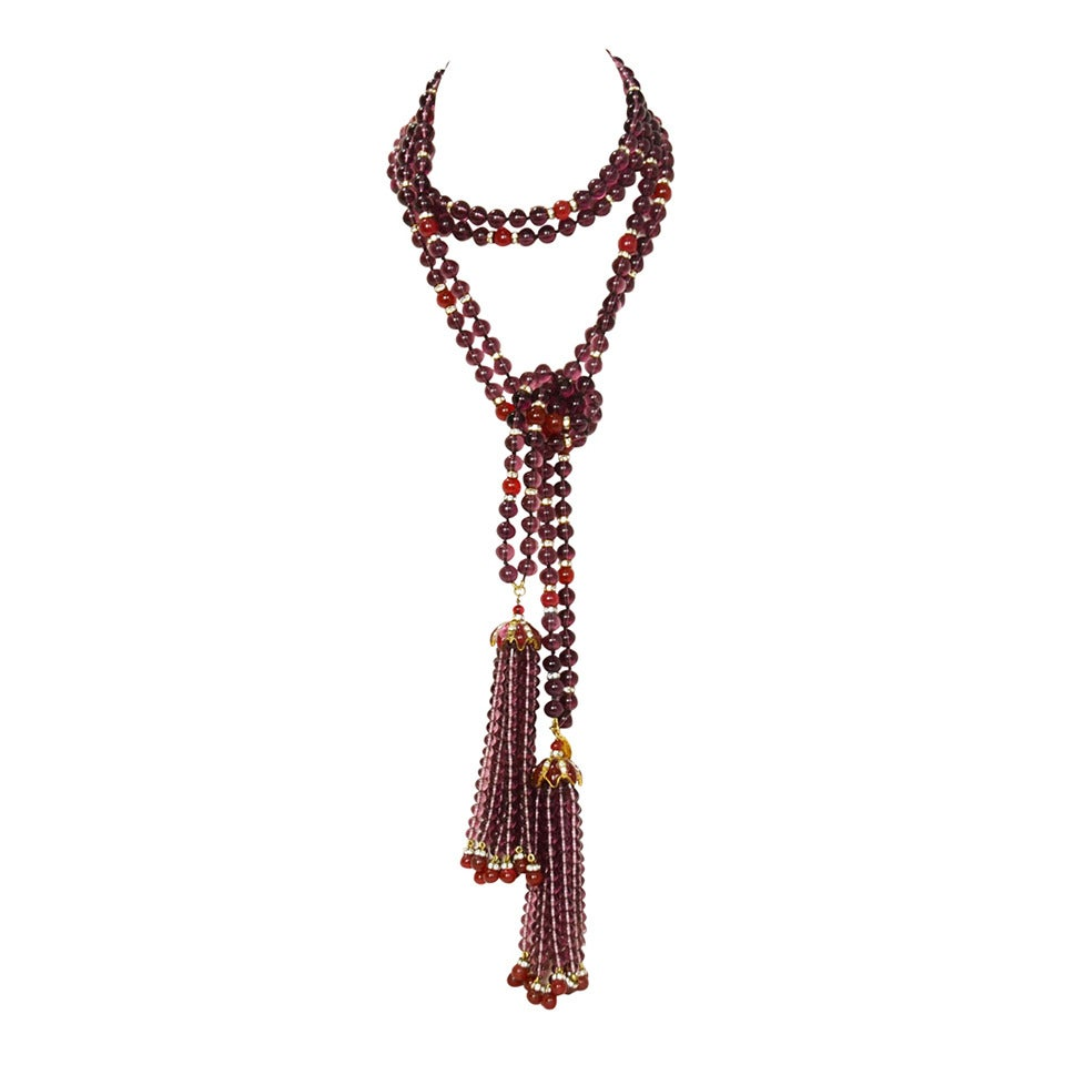 CHANEL Vintage '83 Double Strand Gripoix Bead Lariat Necklace w/ Tassels 1