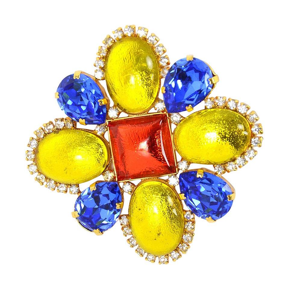 CHANEL Vintage 1995 Blue/Orange/Yellow Brooch w/Rhinestone Detailing 1