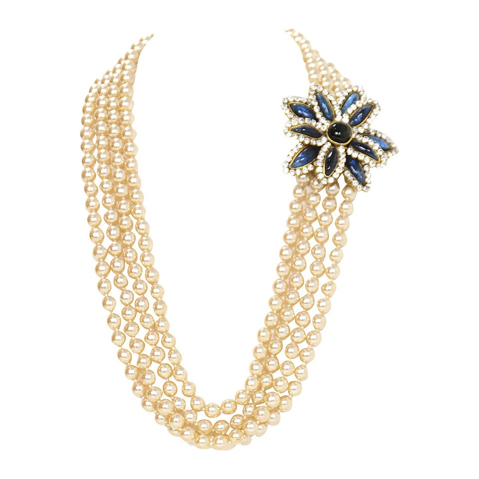 Chanel Vintage '83 Four Strand Pearl Necklace 2