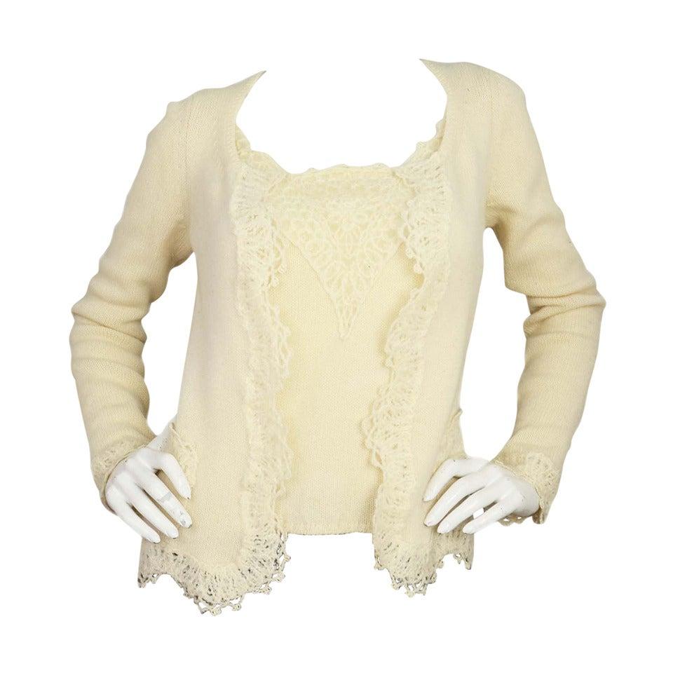 CHANEL Cream Cashmere Twin Set w/Crochet Lace Trim sz 8 For Sale ...