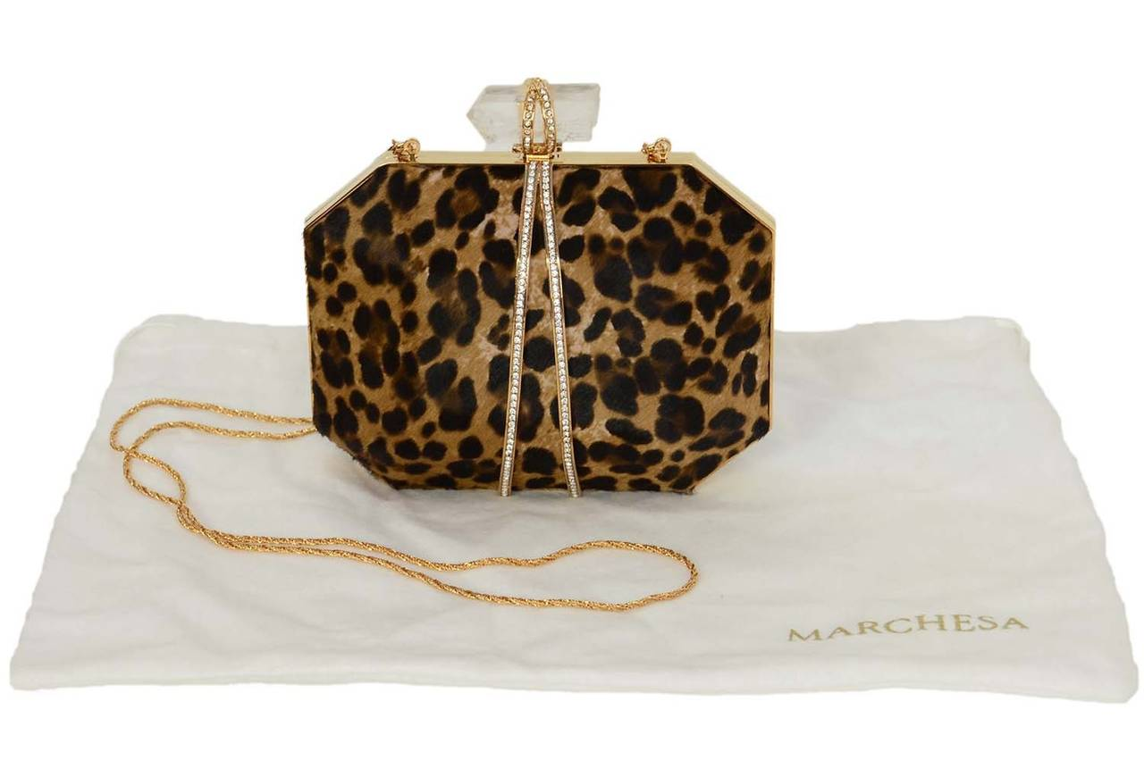 MARCHESA Iris Leopard Print Calf Hair Box Clutch rt. $1,895 For Sale 3