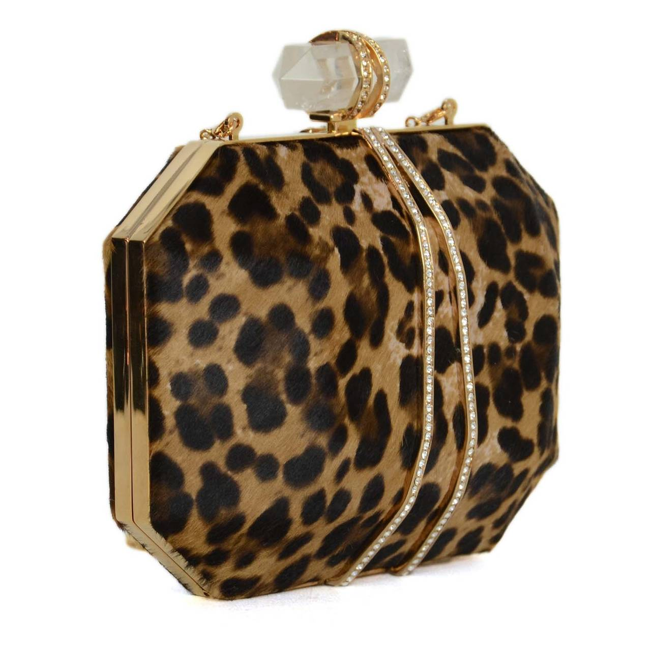 Marchesa Iris Leopard Print Calf Hair Box ClutchFeatures goldtone hardware with rhinestones all around exterior