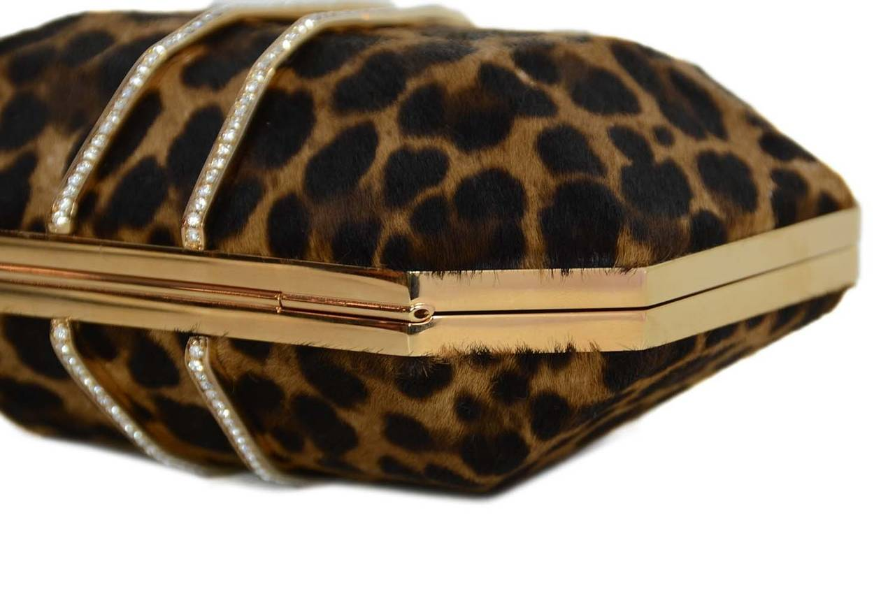 Women's MARCHESA Iris Leopard Print Calf Hair Box Clutch rt. $1,895 For Sale