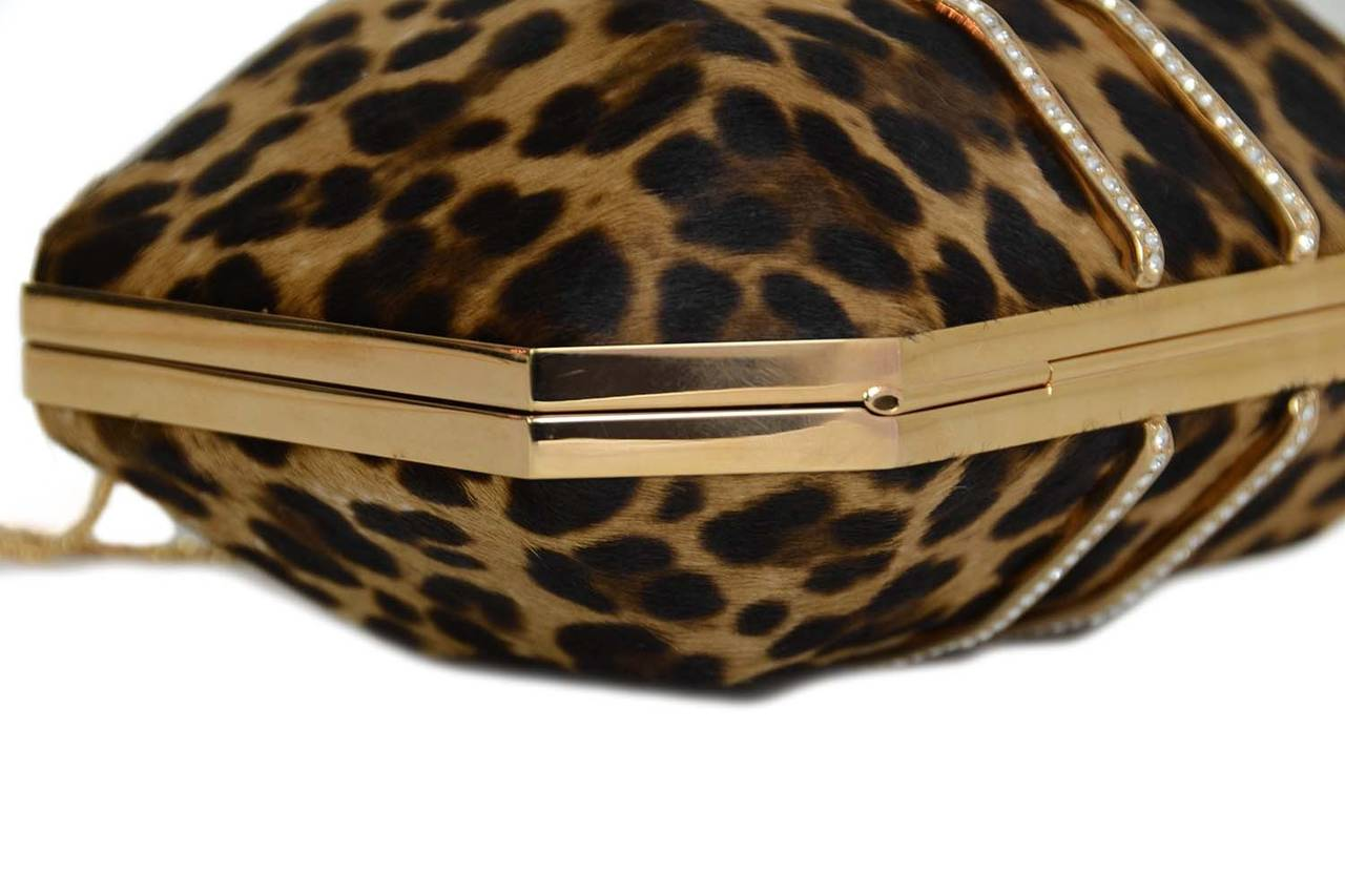 MARCHESA Iris Leopard Print Calf Hair Box Clutch rt. $1,895 For Sale 1