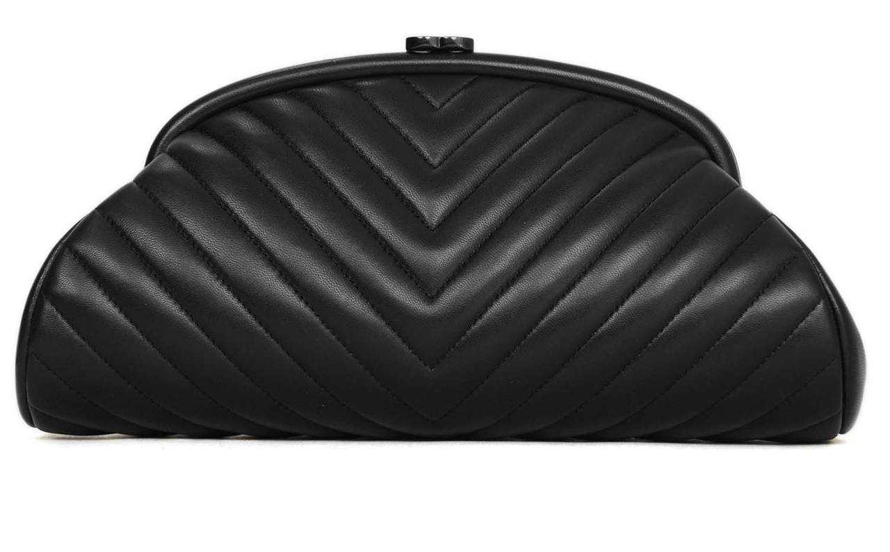 CHANEL 2015 Black Lambskin Chevron Quilted Timeless Clutch Bag at ... : chanel quilted clutch bag - Adamdwight.com