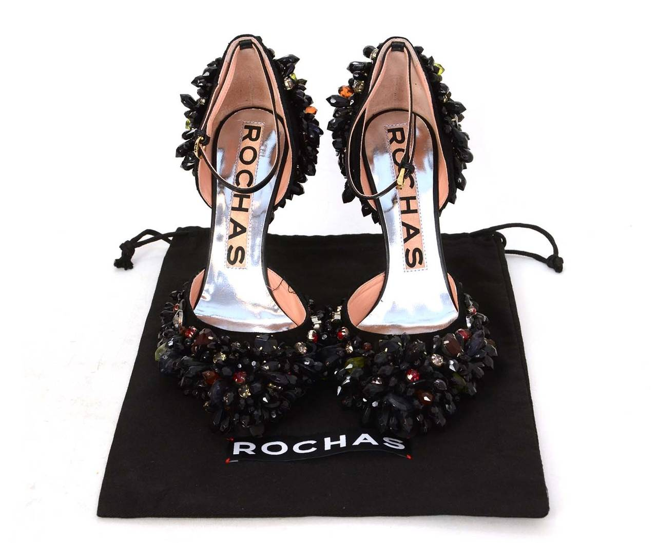 ROCHAS Black Embellished Pointed Toe Pumps sz 39 rt. $2,075 8
