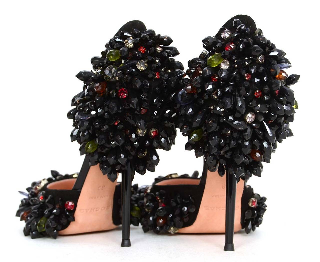 Rochas Black Beaded Pointed Toe Pumps  Features red, pink, and green beads throughout      Made in: Italy     Color: Black, red, green, pink, and gold     Composition: Leather, suede, beads and metal     Sole Stamp: ROCHAS