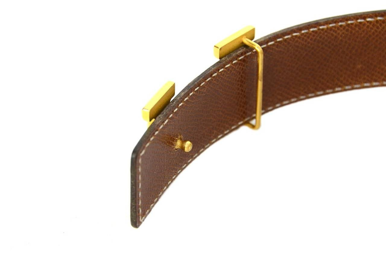 hermes 2001 reversible brown black leather belt w gold h
