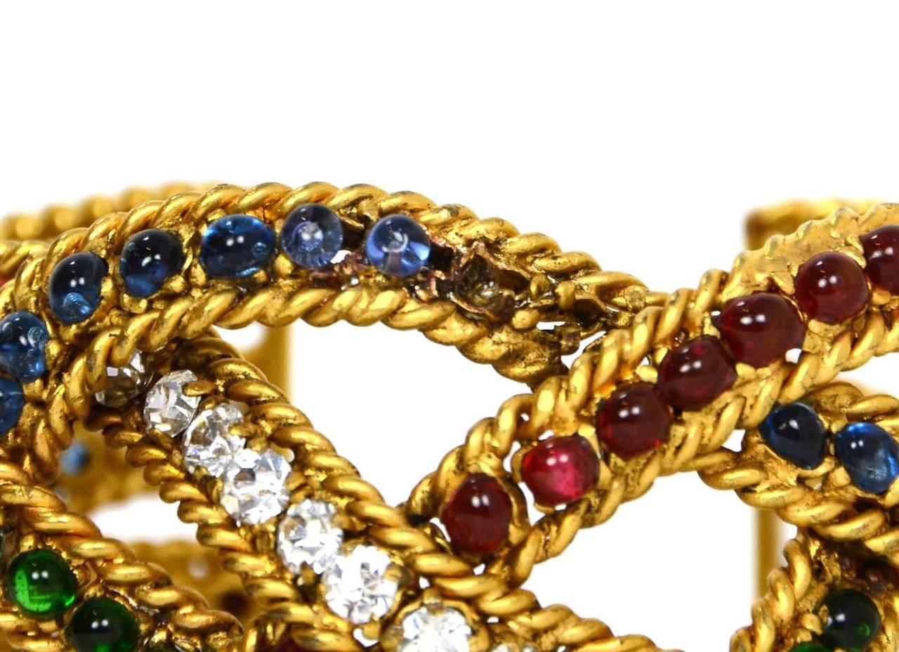 Women's CHANEL Vintage Gripoix & Woven Gold Cuff Bracelet For Sale
