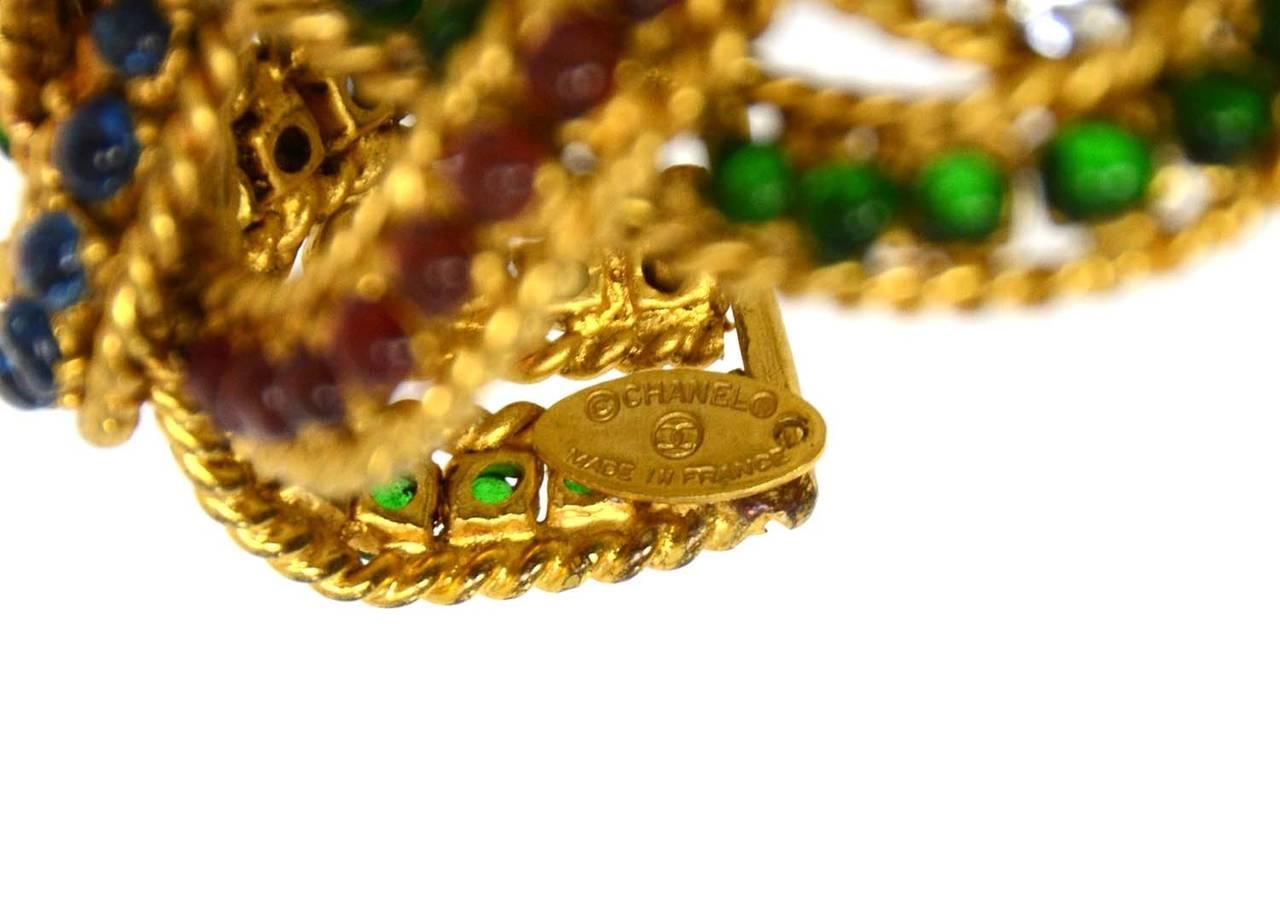 CHANEL Vintage Gripoix & Woven Gold Cuff Bracelet For Sale 1