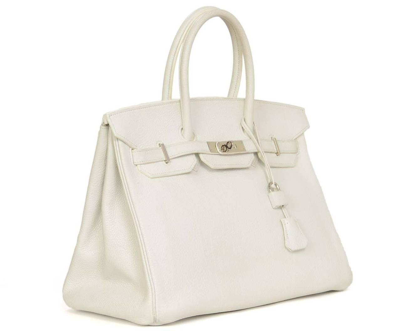 where to buy hermes bags online - HERMES 2007 White Clemence Leather 35 cm Birkin Bag at 1stdibs