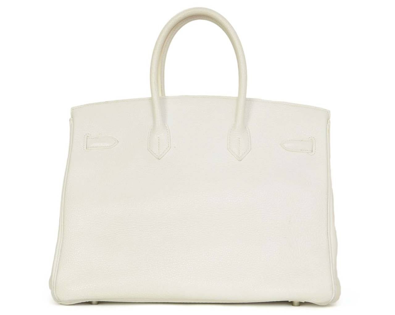fake hermes handbags - HERMES 2007 White Clemence Leather 35 cm Birkin Bag at 1stdibs