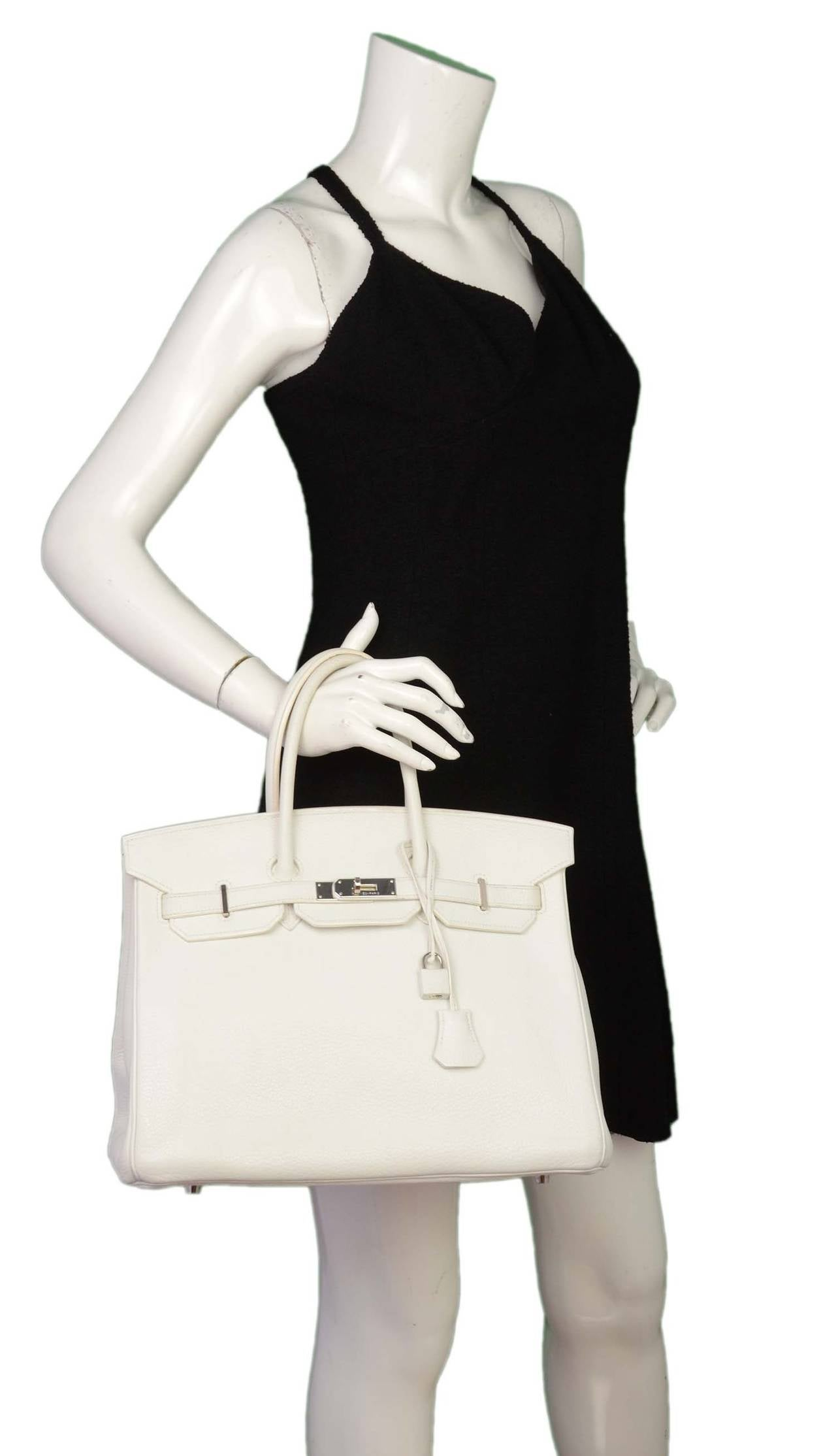 cheap hermes bags replica - HERMES 2007 White Clemence Leather 35 cm Birkin Bag at 1stdibs