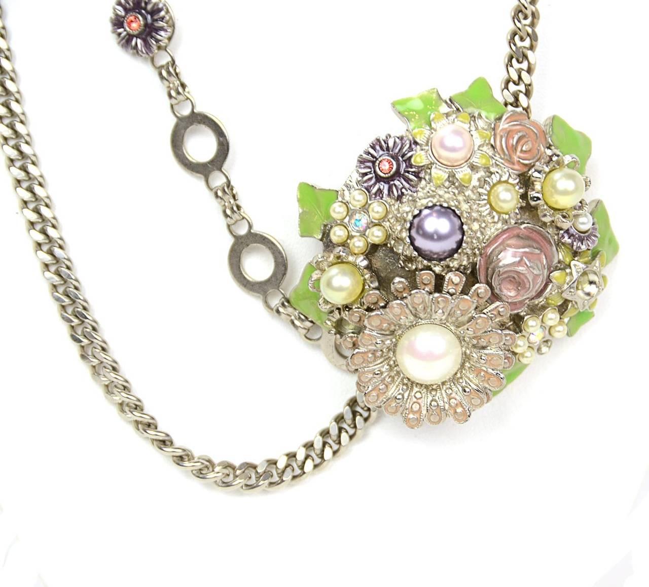 Chanel 2005 Silver Chain Link Belt/Necklace w/Flower & CC Pendants 2