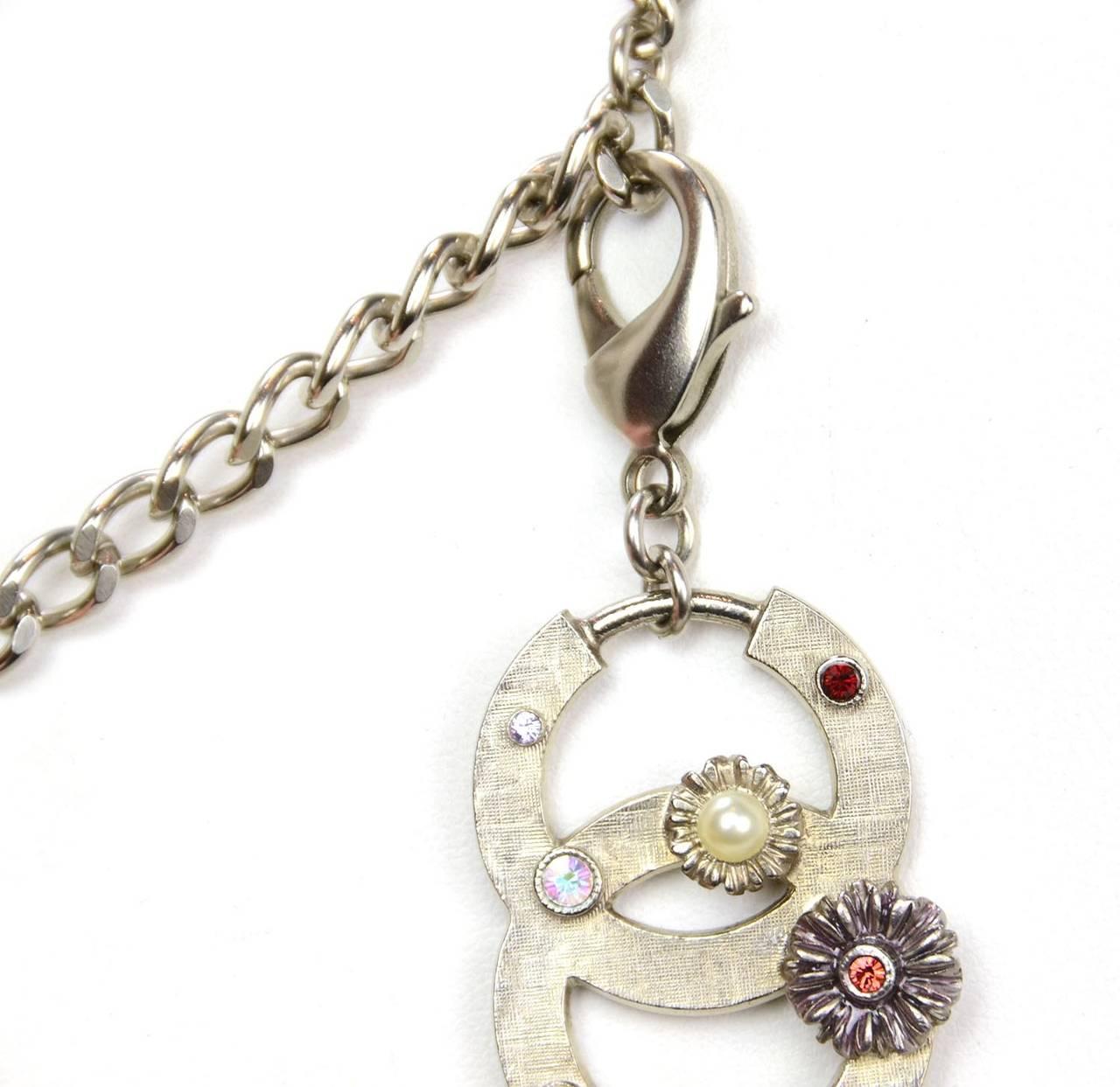 Chanel 2005 Silver Chain Link Belt/Necklace w/Flower & CC Pendants 3