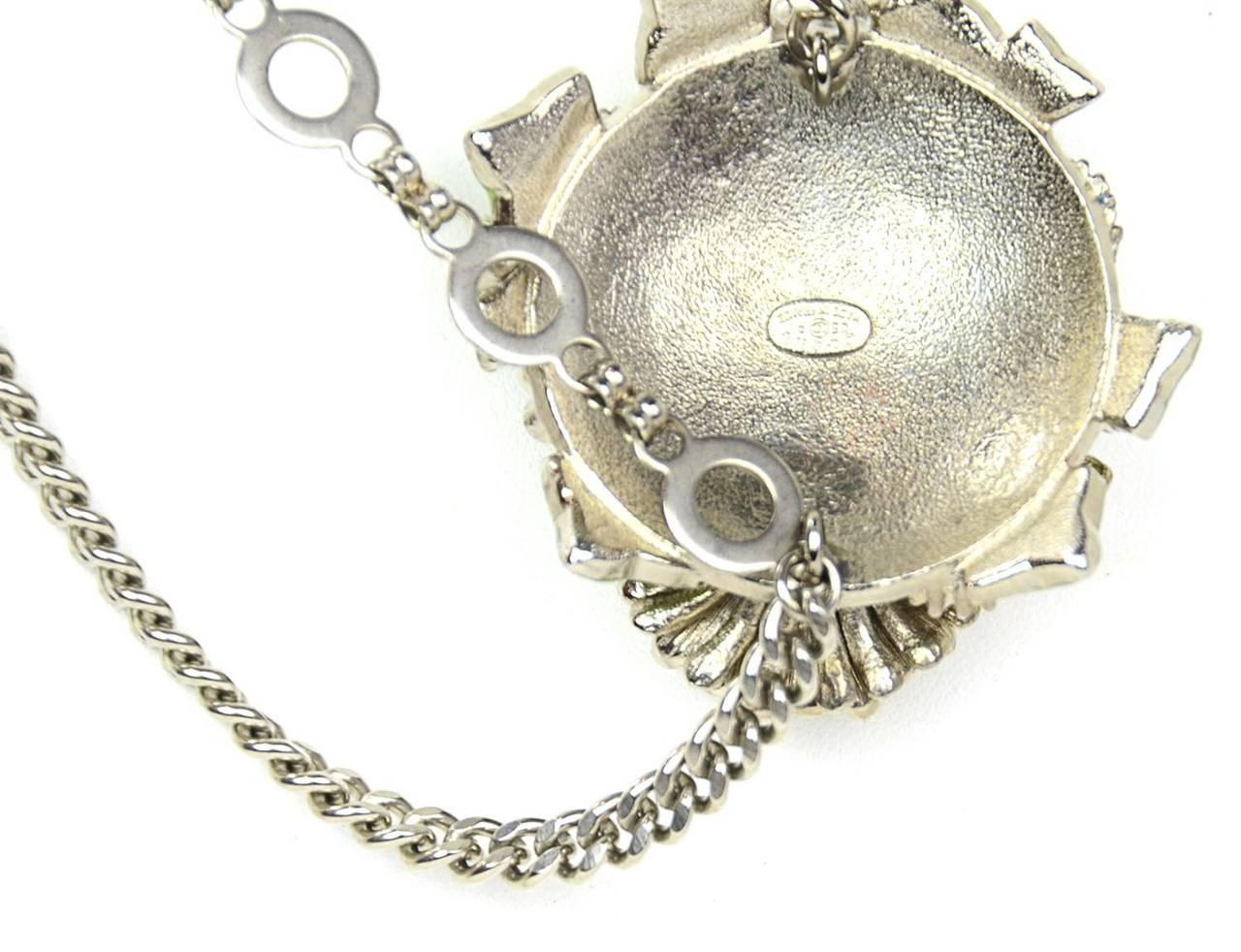 Chanel 2005 Silver Chain Link Belt/Necklace w/Flower & CC Pendants 4