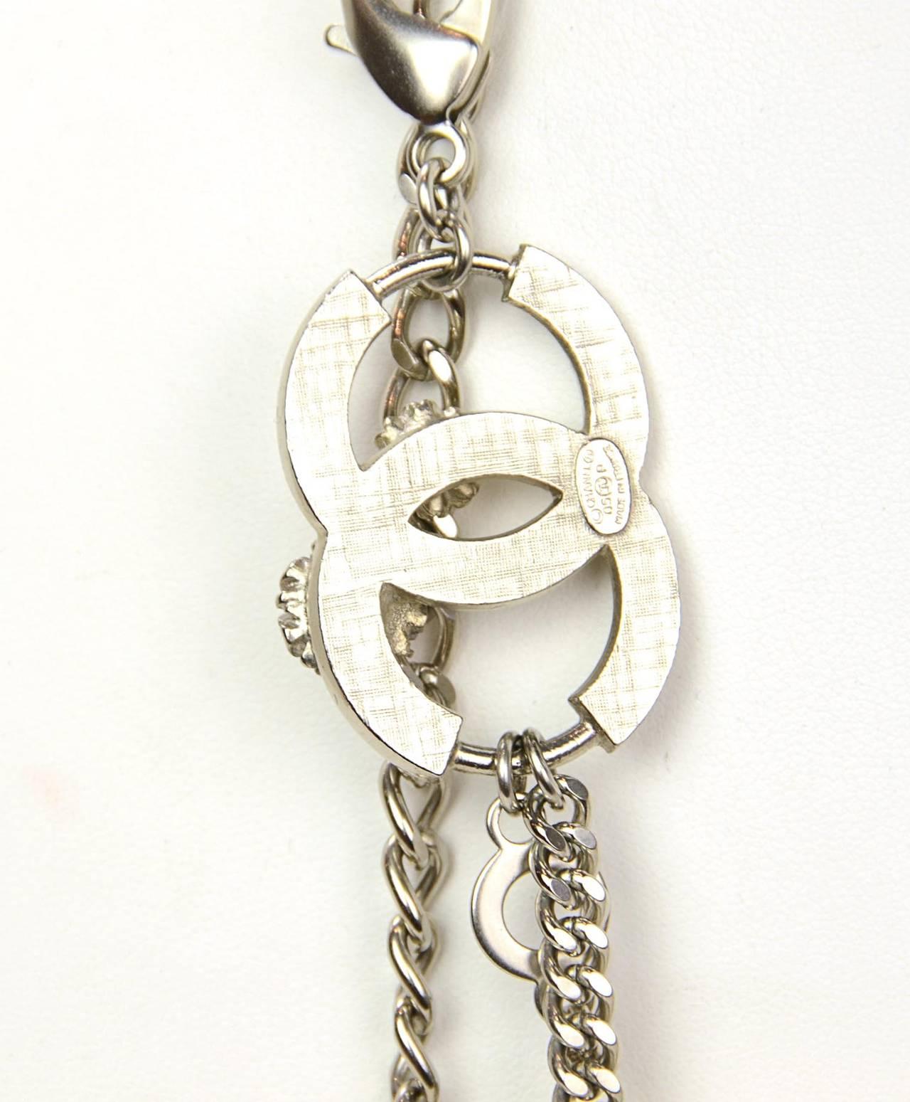 Chanel 2005 Silver Chain Link Belt/Necklace w/Flower & CC Pendants 5