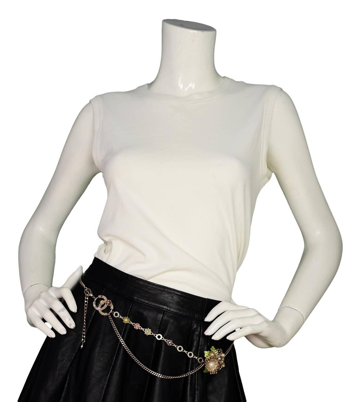 Chanel 2005 Silver Chain Link Belt/Necklace w/Flower & CC Pendants 6