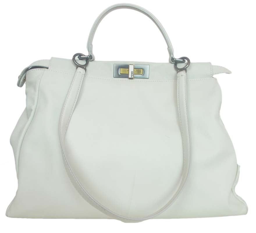 Fendi White Leather Large Peekaboo Bag w Pink Python Lining rt ...