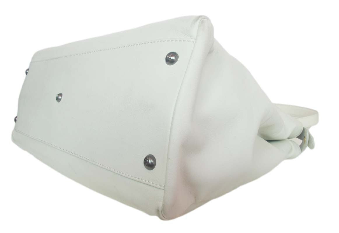 Fendi White Leather Large Peekaboo Bag w Pink Python Lining rt. $5,620 5