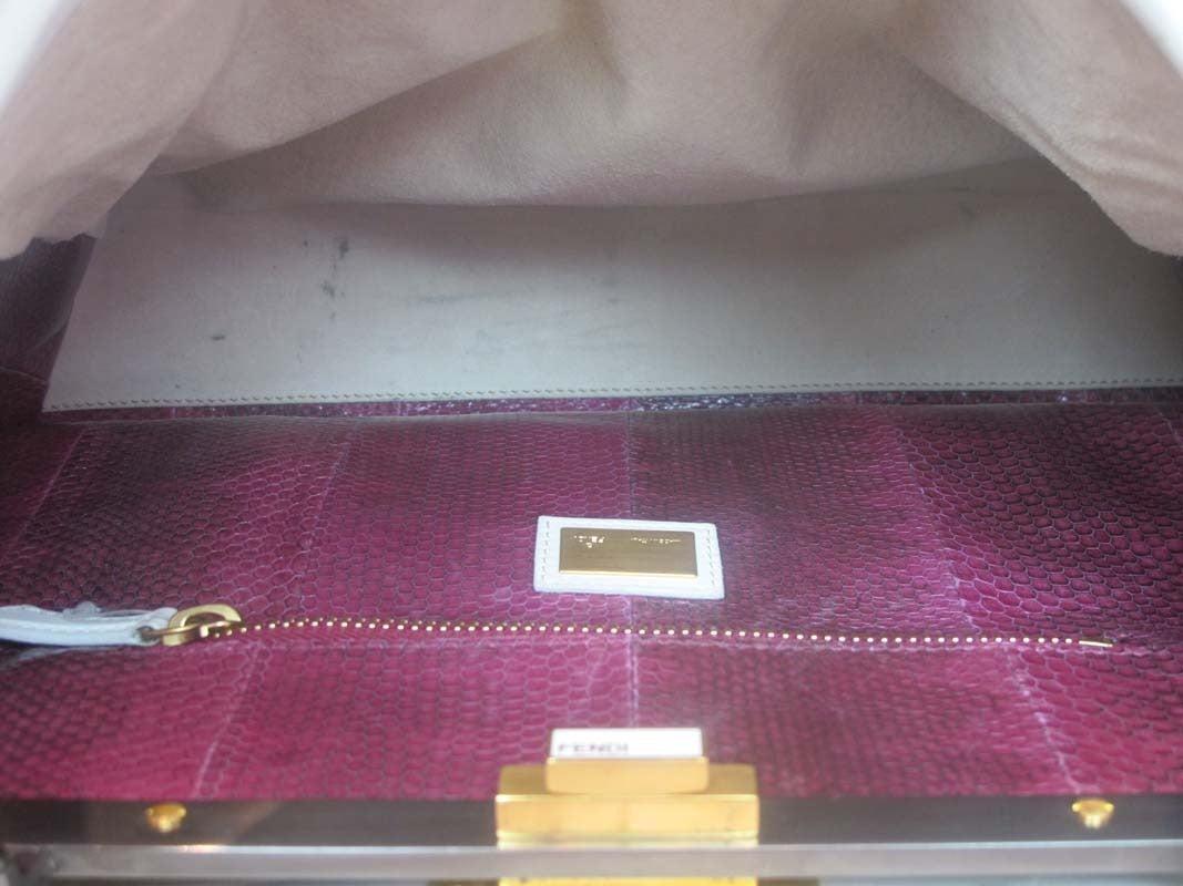 Fendi White Leather Large Peekaboo Bag w Pink Python Lining rt. $5,620 7