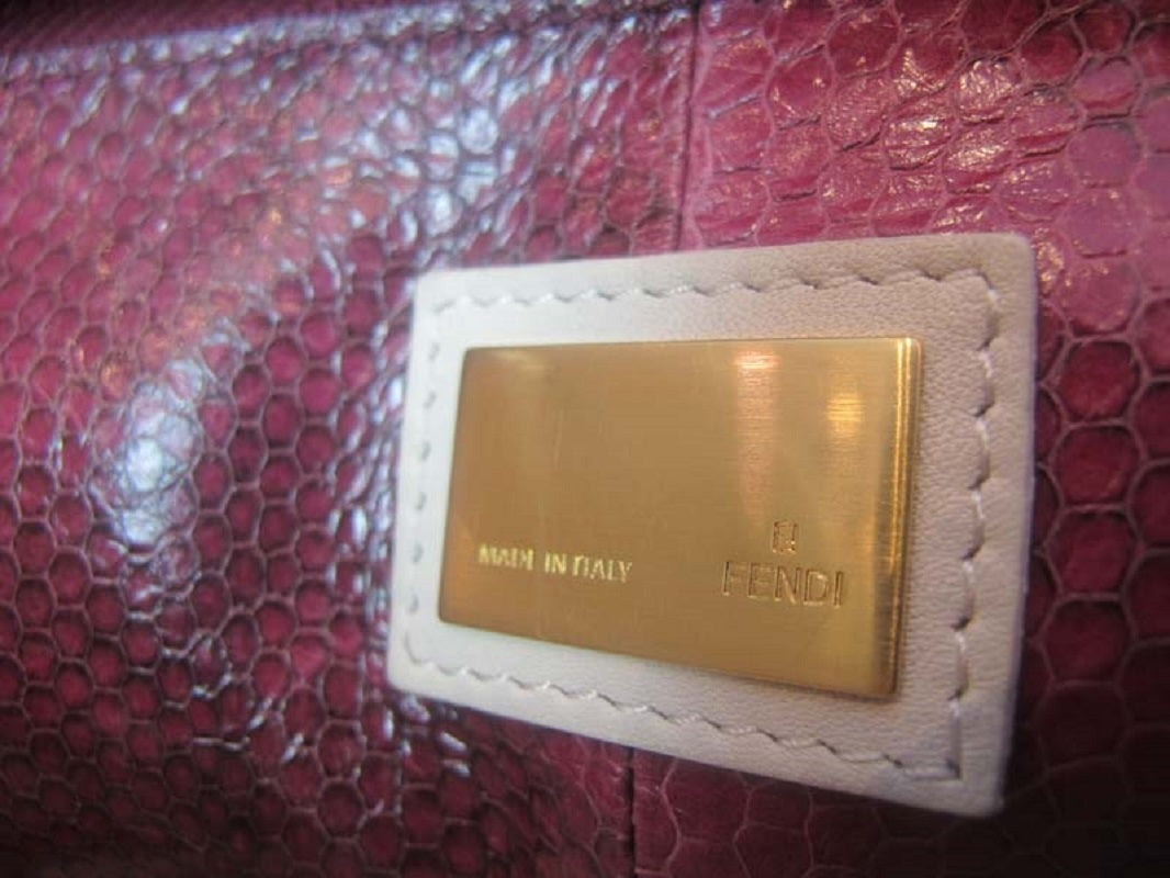 Fendi White Leather Large Peekaboo Bag w Pink Python Lining rt. $5,620 8