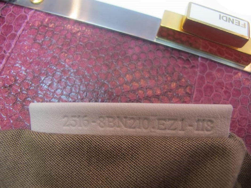 Fendi White Leather Large Peekaboo Bag w Pink Python Lining rt. $5,620 9