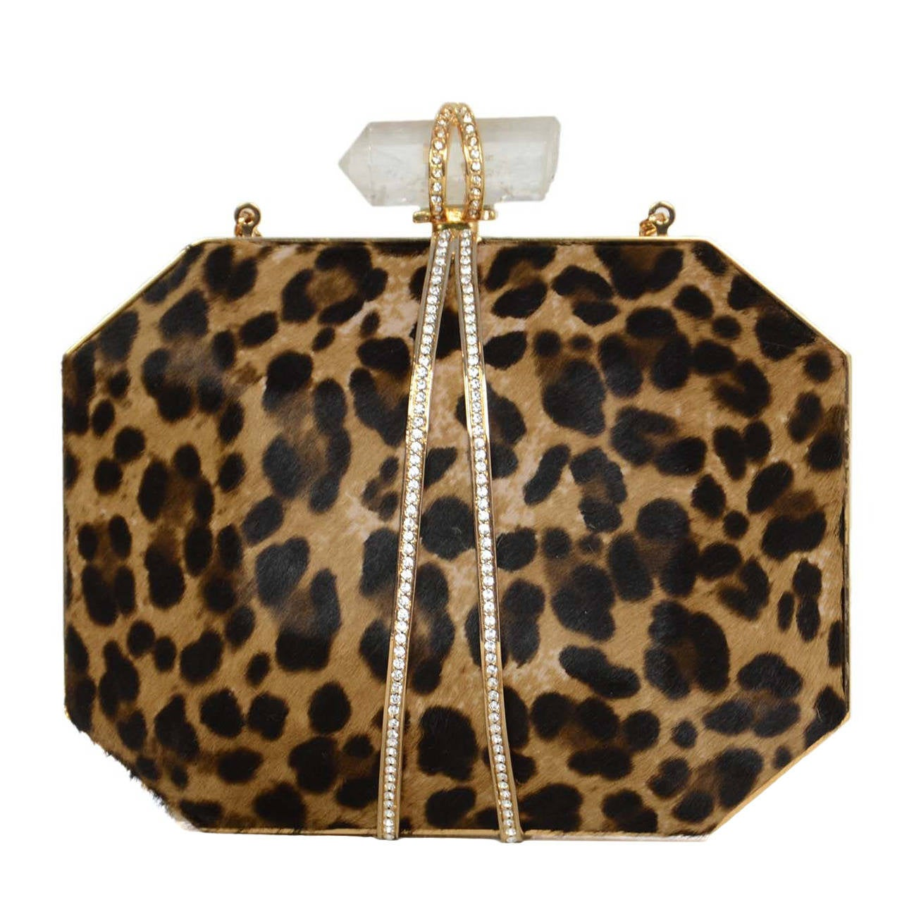 MARCHESA Iris Leopard Print Calf Hair Box Clutch rt. $1,895 For Sale