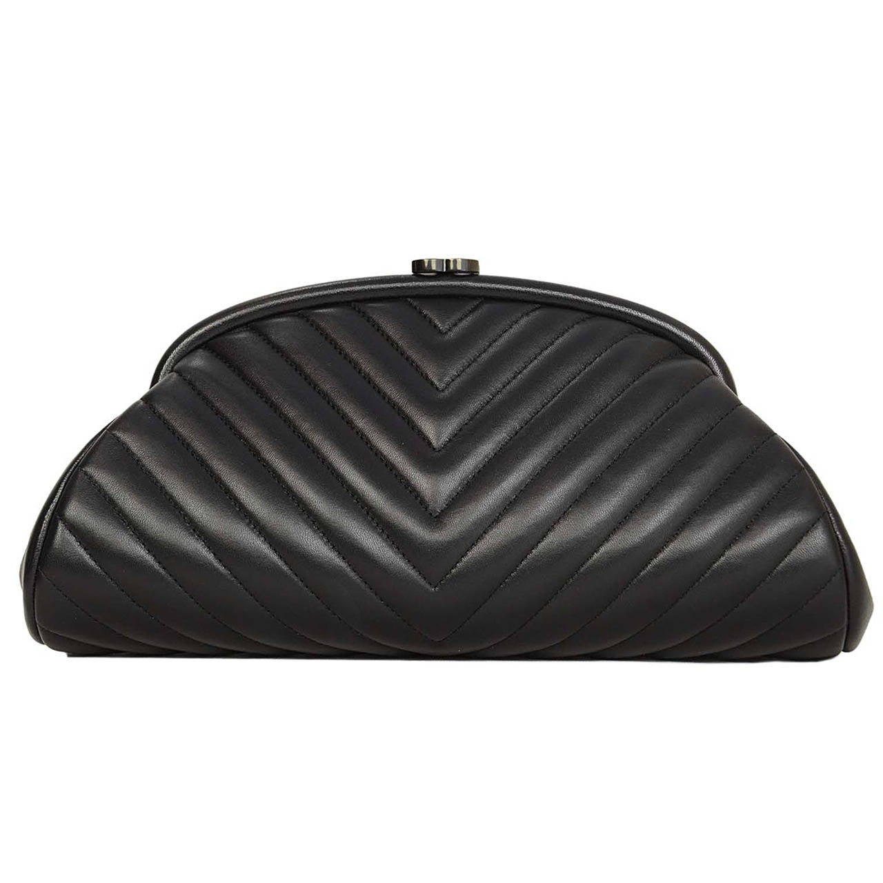 2769160e8d3383 CHANEL 2015 Black Lambskin Chevron Quilted Timeless Clutch Bag For Sale