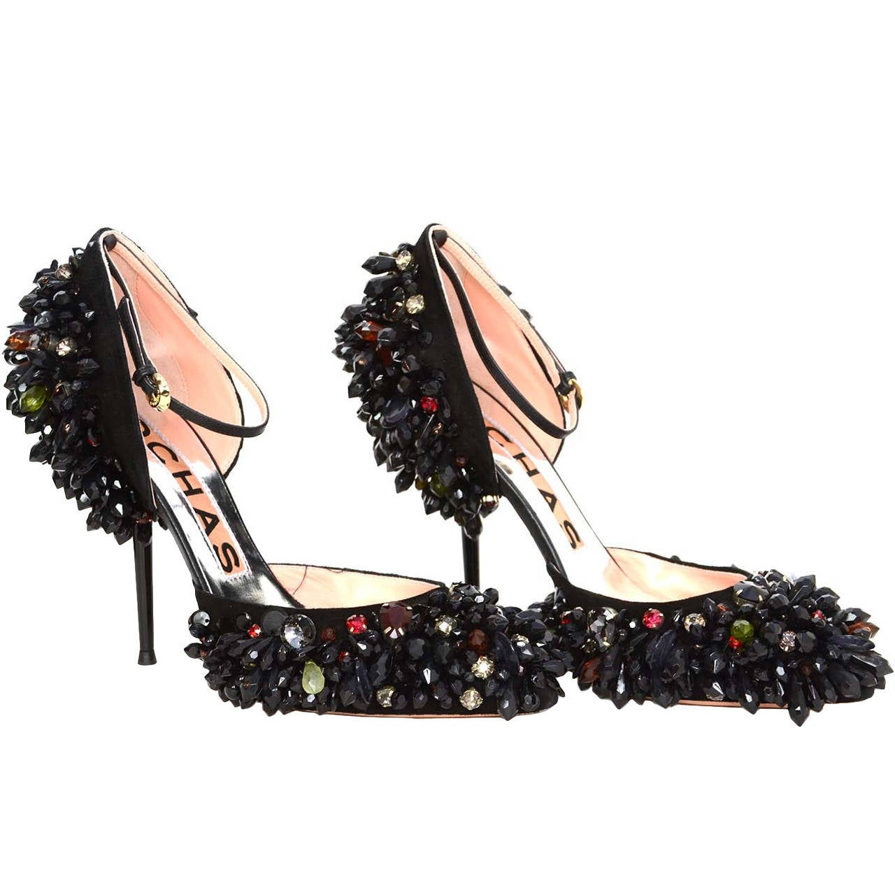 ROCHAS Black Embellished Pointed Toe Pumps sz 39 rt. $2,075 1