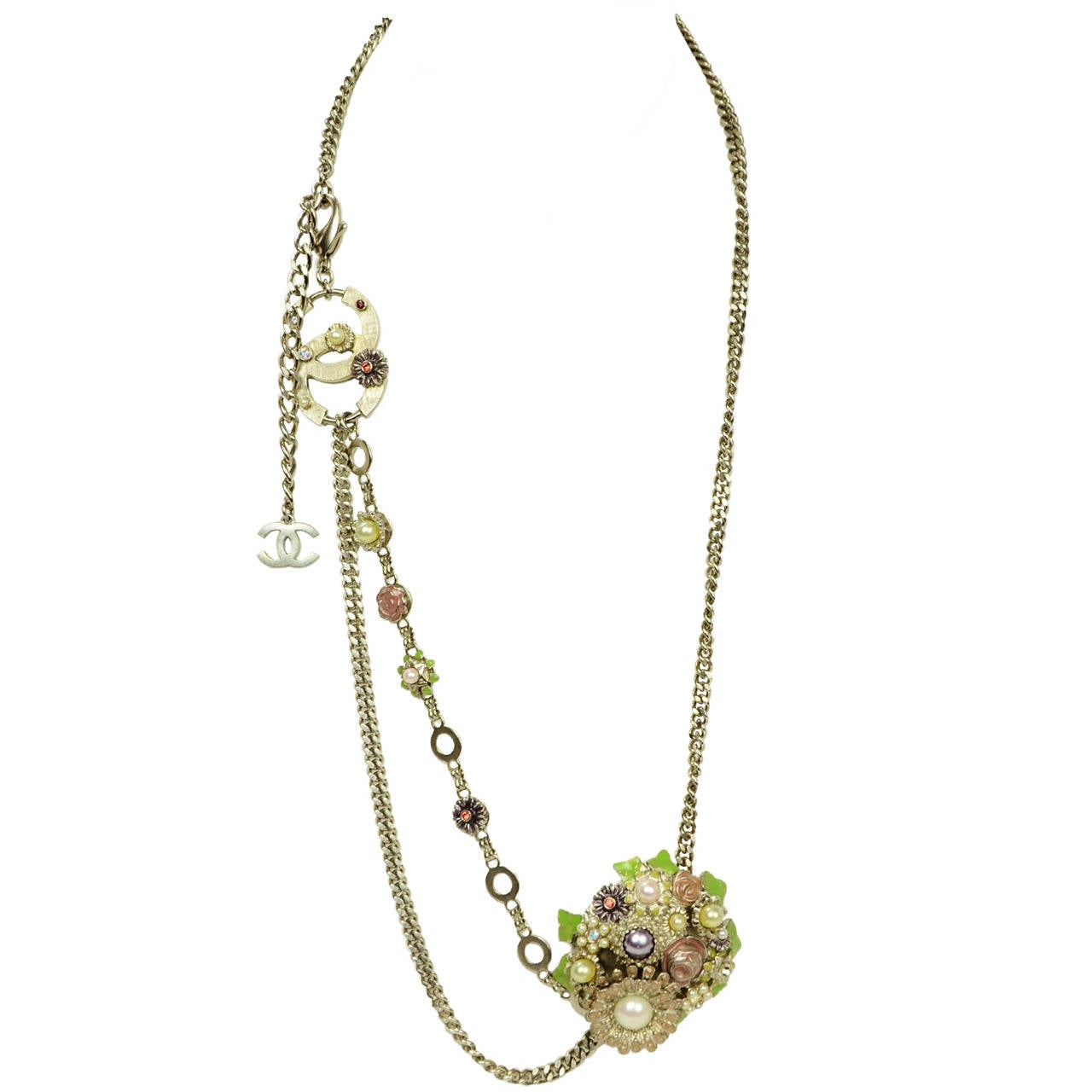 Chanel 2005 Silver Chain Link Belt/Necklace w/Flower & CC Pendants 1